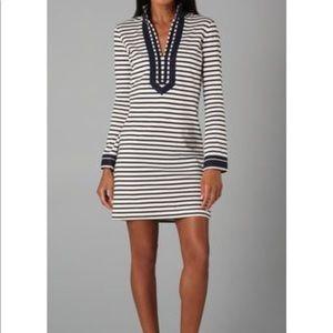 Tory Burch navy/white striped cotton tunic dress